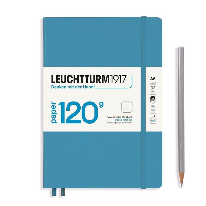 Notebook Medium (A5), EDITION 120, Hardcover, 203 numbered pages, Nordic Blue, dotted