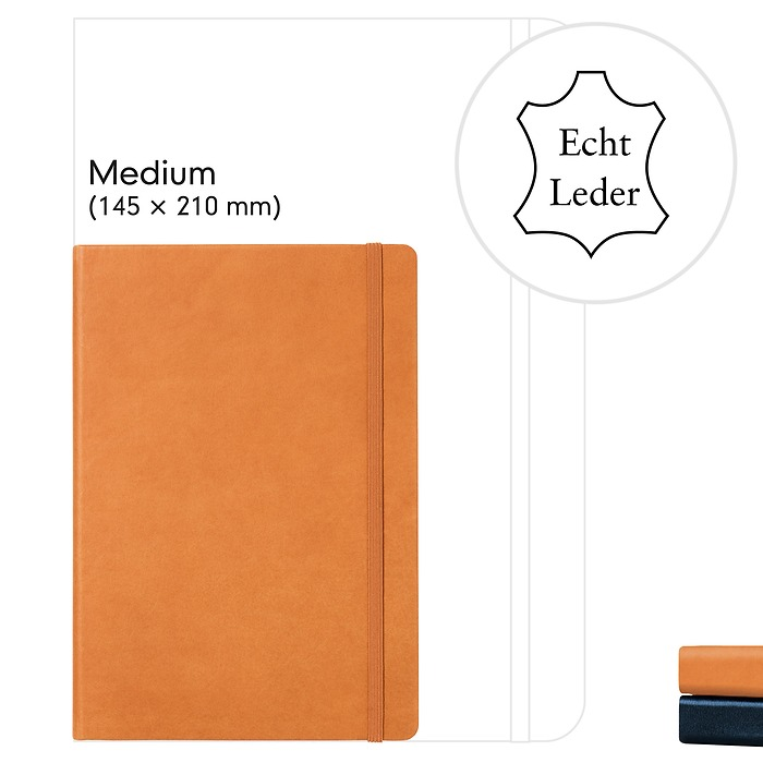 Notebook Medium (A5), Leather, 249 numbered pages