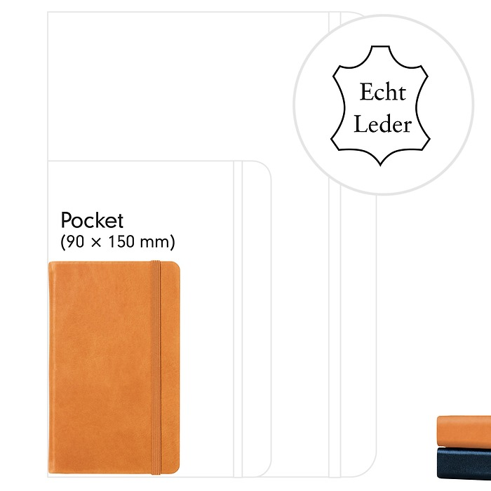 Notebook Pocket (A6), Leather, 187 numbered pages