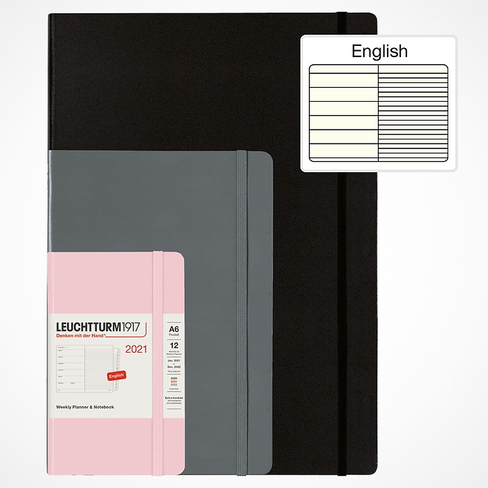 Weekly Planner & Notebook 2021 with booklet for addresses and birthdays, English